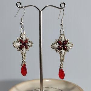 Hand Beaded Star Earrings